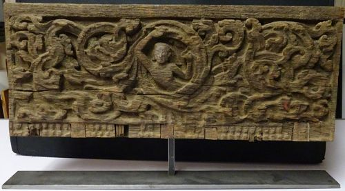 EXCEPTIONAL TIBETAN OR NEPALESE 12-13C WOODEN PANEL