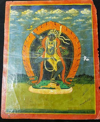 RARE 19TH CENTURY NEPALESE BUDDHIST PAINTING OF VAJRAPANI