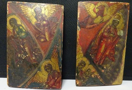 EARLY AND RARE RUSSIAN OR GREEK ICON PANELS