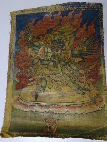 TIBETAN OR MONGOLIAN 19TH CENTURY  BUDDHIST THANGKA