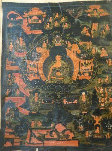 ANTIQUE TIBETAN OR NEPALESE HIMALAYAN BUDDHIST THANGKA