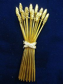 Tiffany & Co. Sheaf of  Wheat 18 Karat Gold Pin