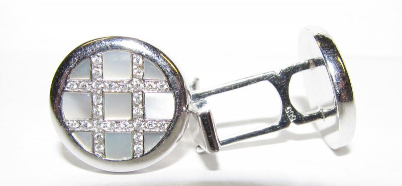 Mother of Pearl and Diamond Cufflinks set in 14Kt Gold
