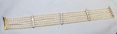 Six Strand Pearl and Diamond Bracelet