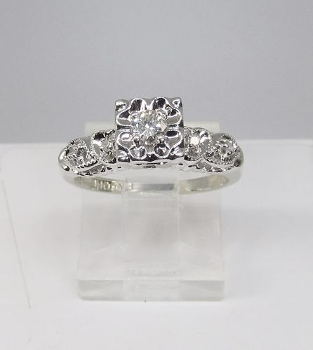 Diamond and 14Kt White Gold Engagement Ring