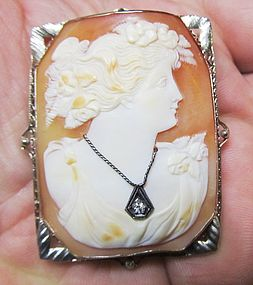 1920's Shell Cameo in 14Kt White Gold with a Diamond