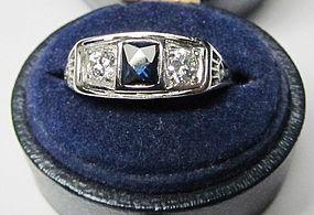 Platinum Diamond and Sapphire Filigree Ring
