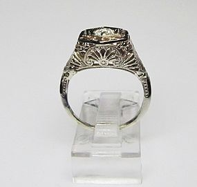Filigree 14Kt White Gold and Diamond Ring