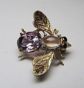 Amethyst, Moonstone 14Kt Bumble Bee Broach