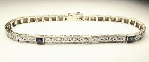 14Kt yellow Gold Bracelet with Platinum Top