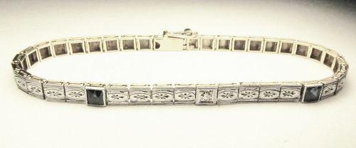 Filigree Bracelet 14Kt Gold with Platinum Top