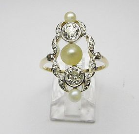 Edwardian Diamond and Pearl Ring