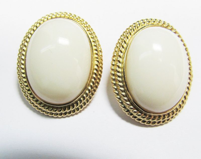 Oval Coral Earrings in 14Kt Gold from Gump's