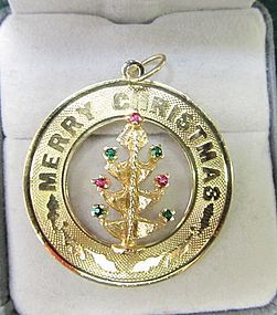 14Kt Gold Merry Christmas Charm