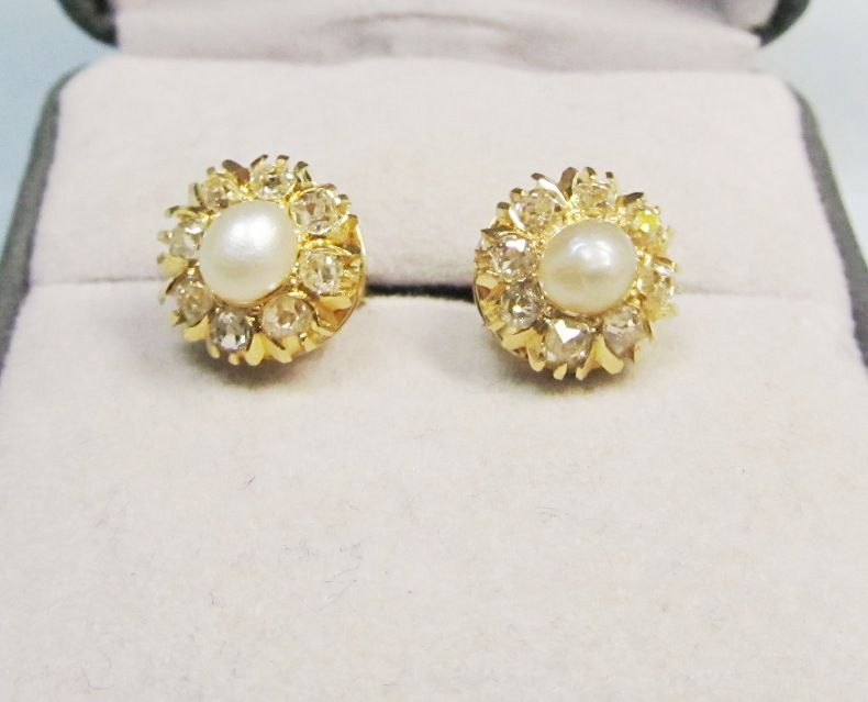 Victorian 14kt Gold Diamond and Pearl Earrings