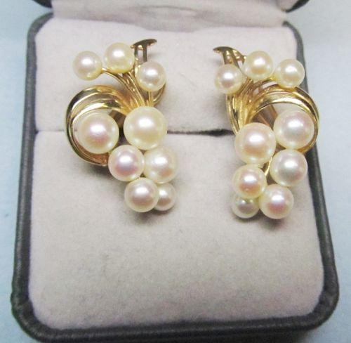 14Ky Gold and High Luster Pearl Earrings