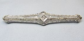 14Kt Gold Filigree Bar Pin with a Diamond