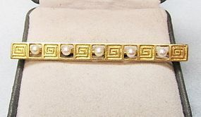 14Kt Gold Art Deco Bar pin with Pearls