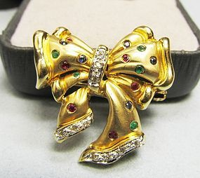 14Kt Bow Pin Rubies, Emeralds, Sapphires and Diamonds