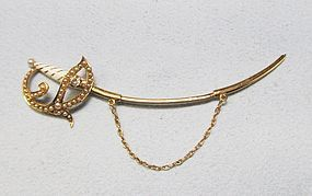 Victorian 14Kt Gold Saber Cloak Pin with Seed Pearls