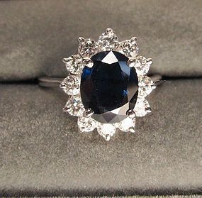 Classic Sapphire and Diamond Cluster Ring