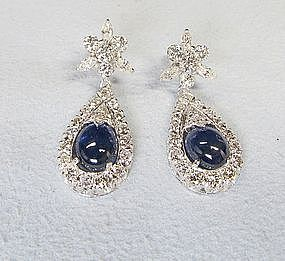 Elegant 18Kt Gold Sapphire and Diamond Earrings
