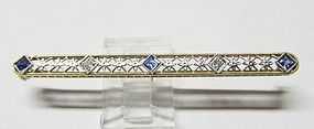 Sapphire and Diamond Filigree Bar Pin