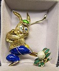 14Kt Gold Golfing Enameled Bunny Broach