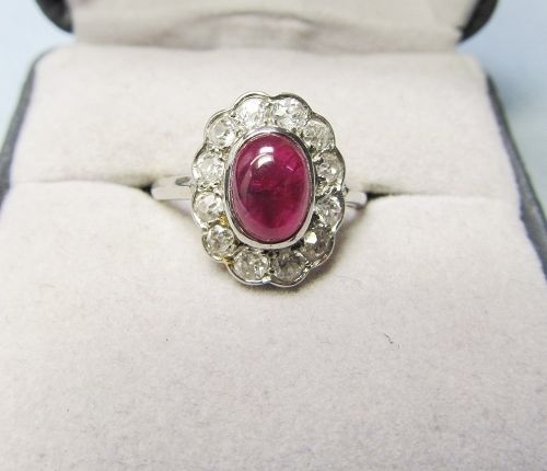 Cabochon Ruby, Diamond and Platinum Ring