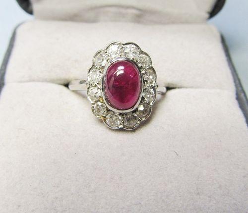 Cabochon Ruby, Diamond and Platinum Ring
