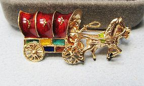 18Kt Gold and Enameled Covered-Wagon Broach