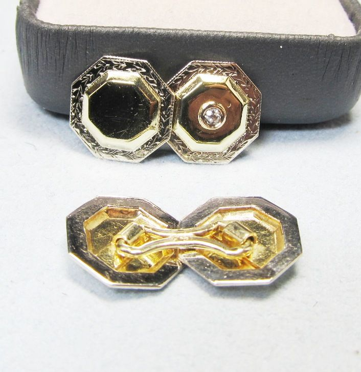 Three Color Gold and Diamond Cufflinks