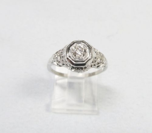 White Gold Filigree and Solitaire Diamond Ring