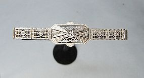 Art-Deco 14Kt Gold Filigree and Diamond Bracelet