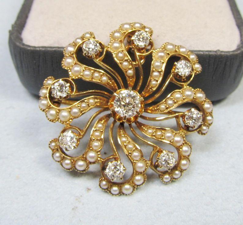 "Diamond and Pearl ""Pinwheel"" Broach / Pendant"