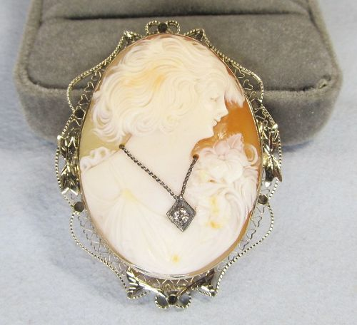 1920-s 14Kt White Gold Shell Cameo Pin / Pendant
