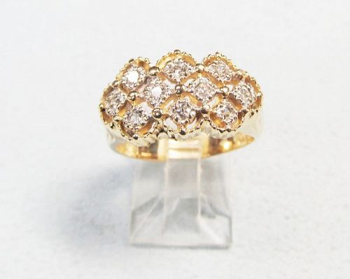 Vintage 14Kt Gold Openwork Diamond Ring