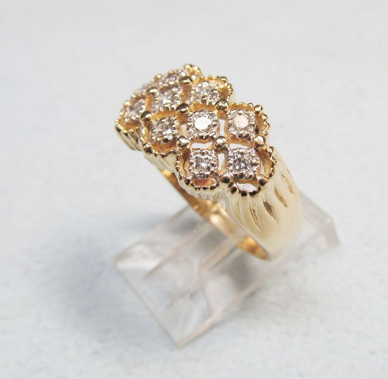 Vintage 14Kt Gold Openwork Diamond Ring