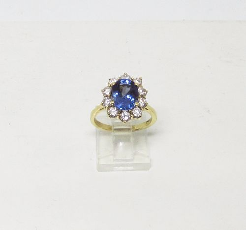 Elegant Tanzanite and Diamond Ring