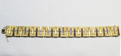 Mid-century Modern 14Kt Gold and Enameled Bracelet