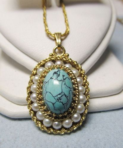 Turquoise and Pearl Pendant 14Kt Gold