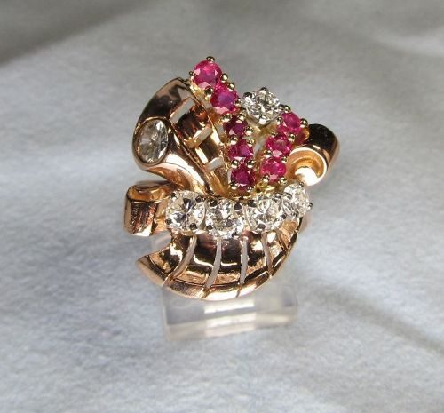 Super Retro Diamond and Ruby Ring