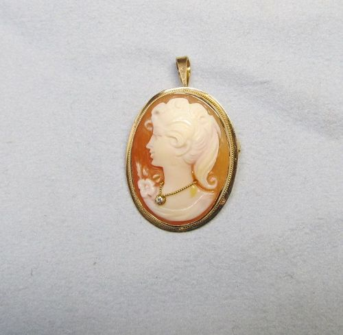 Shell Cameo Pin/Pendant in 14Kt Gold with Diamond
