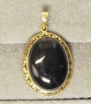 14Kt Gold and Onyx Pendant