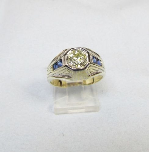 Art Deco 1920's Vintage Old Mine Diamond and Sapphire Ring