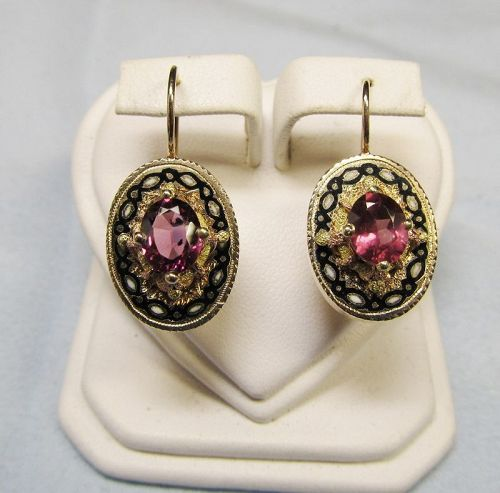 Victorian 14Kt Gold Garnet Earrings