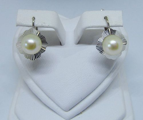 18Kt White Gold Cultured Pearl Earrings