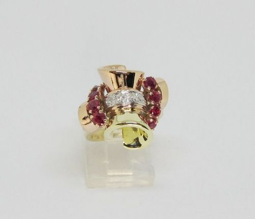 14Kt Multi Color Gold Ruby and Diamond Retro Ring