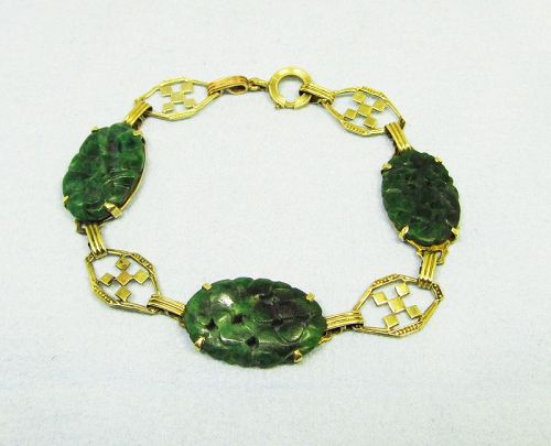 Art Deco 14Kt Gold and Jade Bracelet