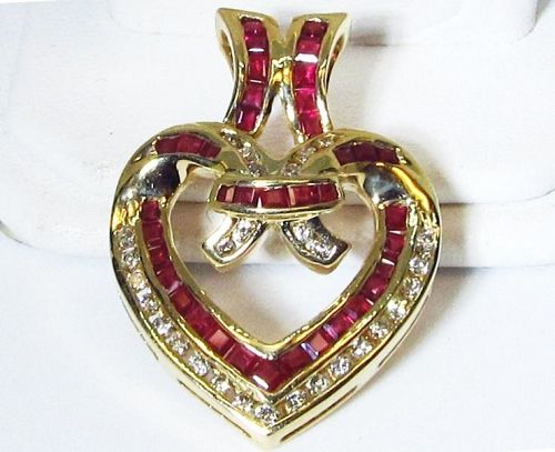 14Kt Gold Ruby and Diamond Heart Pendant